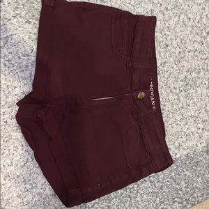 Burgundy American Eagle Denim Shorts